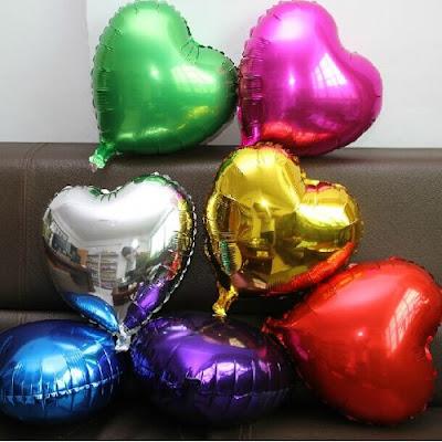 Balon Foil Hati Warna Warni