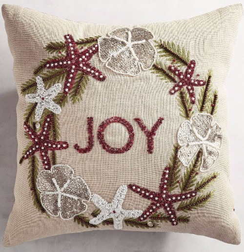 Coastal Christmas Wreath Pillow