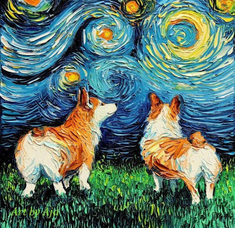14-Pembroke-Corgi-Aja-Trier-The-Starry-Night-Dog-Paintings-www-designstack-co