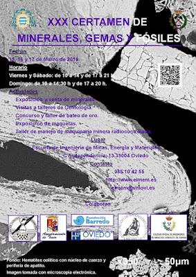 Cartel del XXX Certamen de minerales, gemas y fósiles. Escuela de Minas, Oviedo