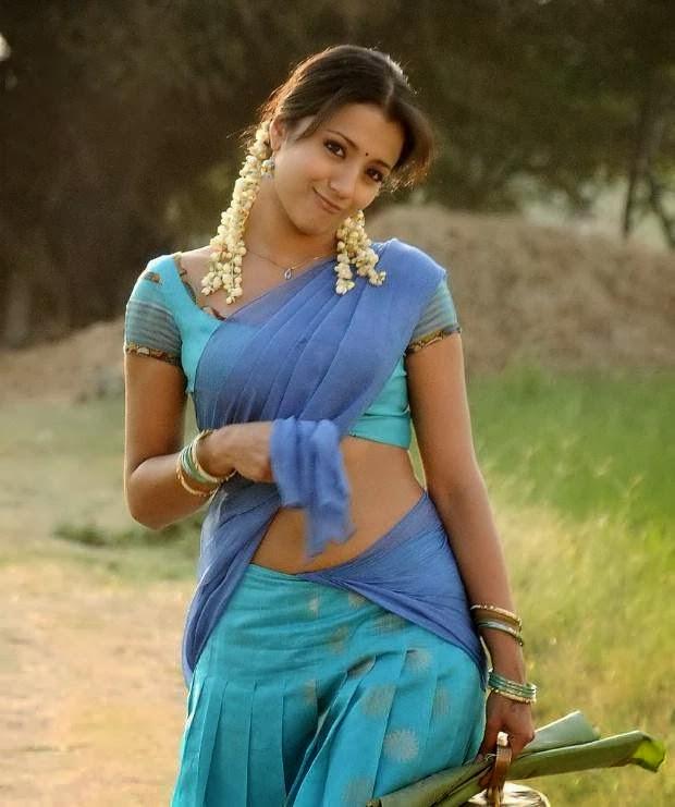 Trisha Hot Navel Show In Blue Half Saree Pics