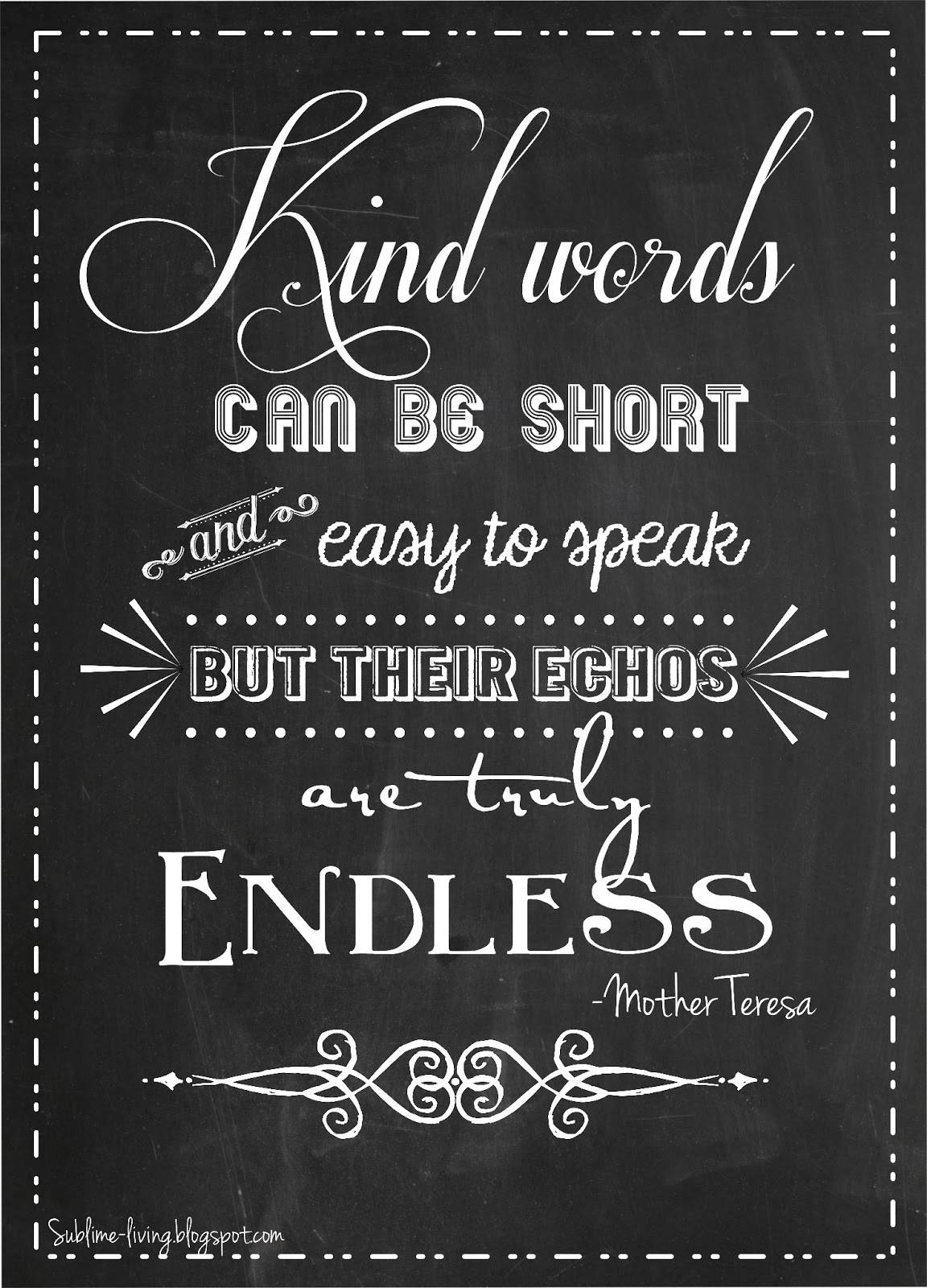 More Chalkboard Art Quote Kind Words & Love in Action