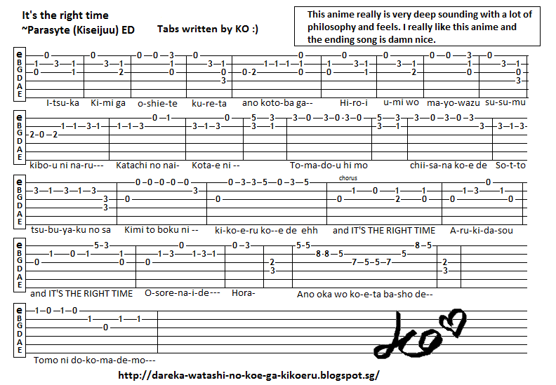 Anime Guitar Tabs: Tabs for It\'s the right time - Parasyte (kiseijuu) ED