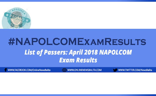 NAPOLCOM Result April 2018: Police Inspector Exam Passers