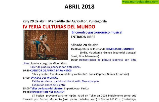 Agenda cultural del Cabildo Insular de La Palma para el mes de abril
