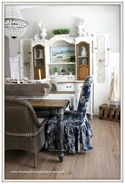 French Country Farmhouse Dining Room-Waverly-Ballad Bouquet Slip Covers- From My Front Porch To Yours