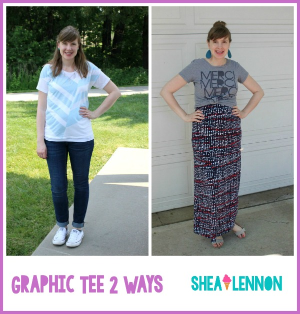 2 outfit ideas for styling a graphic tee - these looks will work for both maternity and non-maternity looks. Click through for the details.