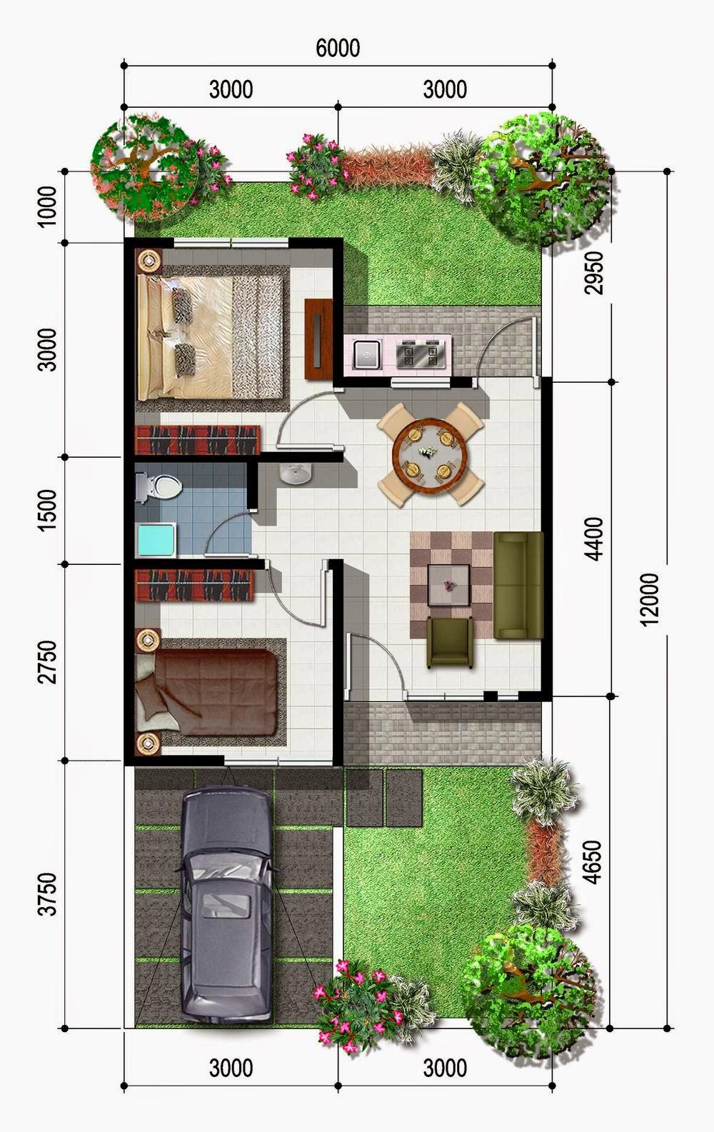 Sketsa Desain Rumah Satu Lantai Dua Kamar Tidur 75 Meter ...