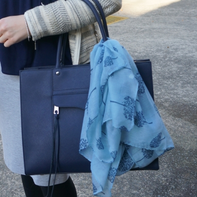 fashion scarf girl family tree print in blue tied on Rebecca Minkoff medium MAB tote in moon navy bag | awayfromtheblue