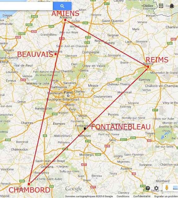 Le triangle Chambord-Reims-Amiens.