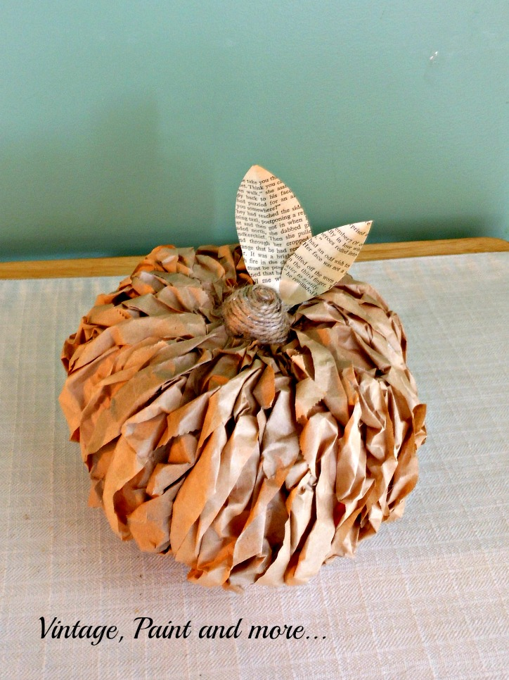Vintage, Paint and more... rustic little pumpkin made with dollar store pumpkin and brown paper lunch bags