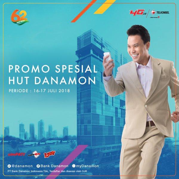 Bank Danamon - Promo Ultah ke 62 Ada Tambahan Pulsa Saat Isi Ulang Pulsa Telkomsel