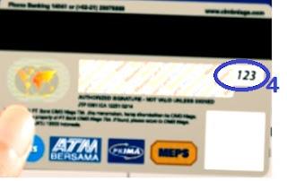 Tampilan bagian belakang kartu debit cimb niaga berisi cvv / cvc