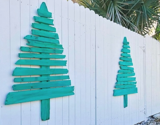 Turquoise Painted Wooden Wall Christmas Trees