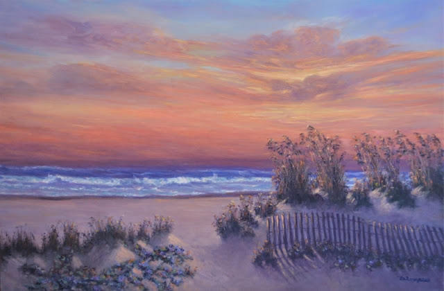 Painting of a beach sunset with fence and sea oats