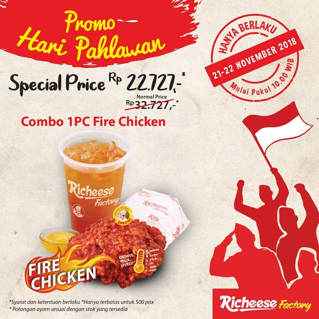RicheeseFactory - Promo Hari Pahlawan Combo 1 pc Fire Chicken hanya Rp 22.727