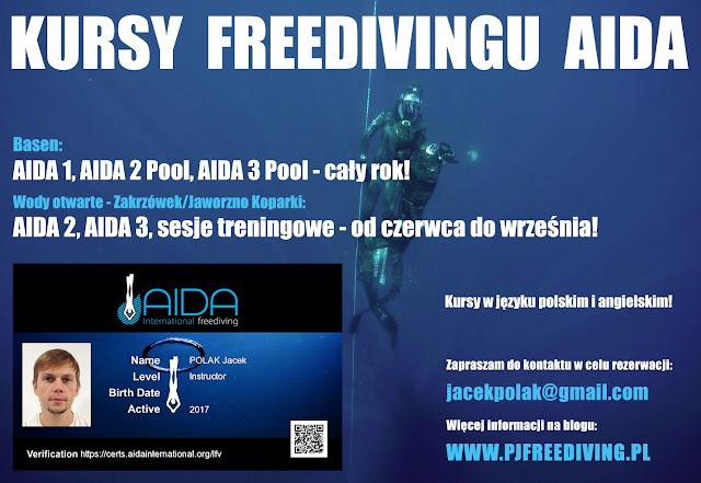 Kursy Freedivingu AIDA - Jacek Polak - Kraków Zakrzówek Koparki - AIDA 1, AIDA 2, AIDA 3