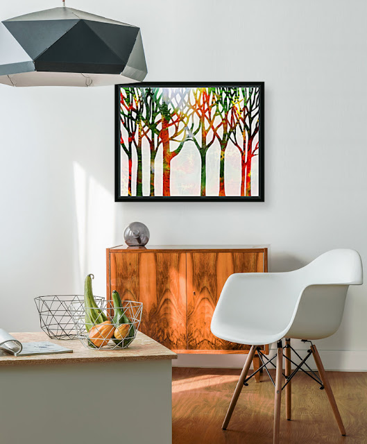 Painting of Forest in interior decor