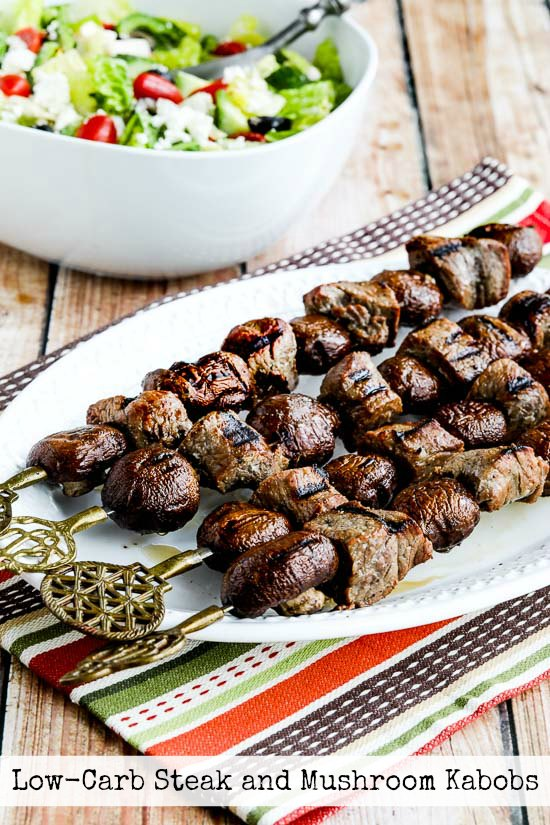 20 Low Carb Kabobs or Skewers for the Grill featured for Low-Carb Recipe Love on KalynsKitchen.com