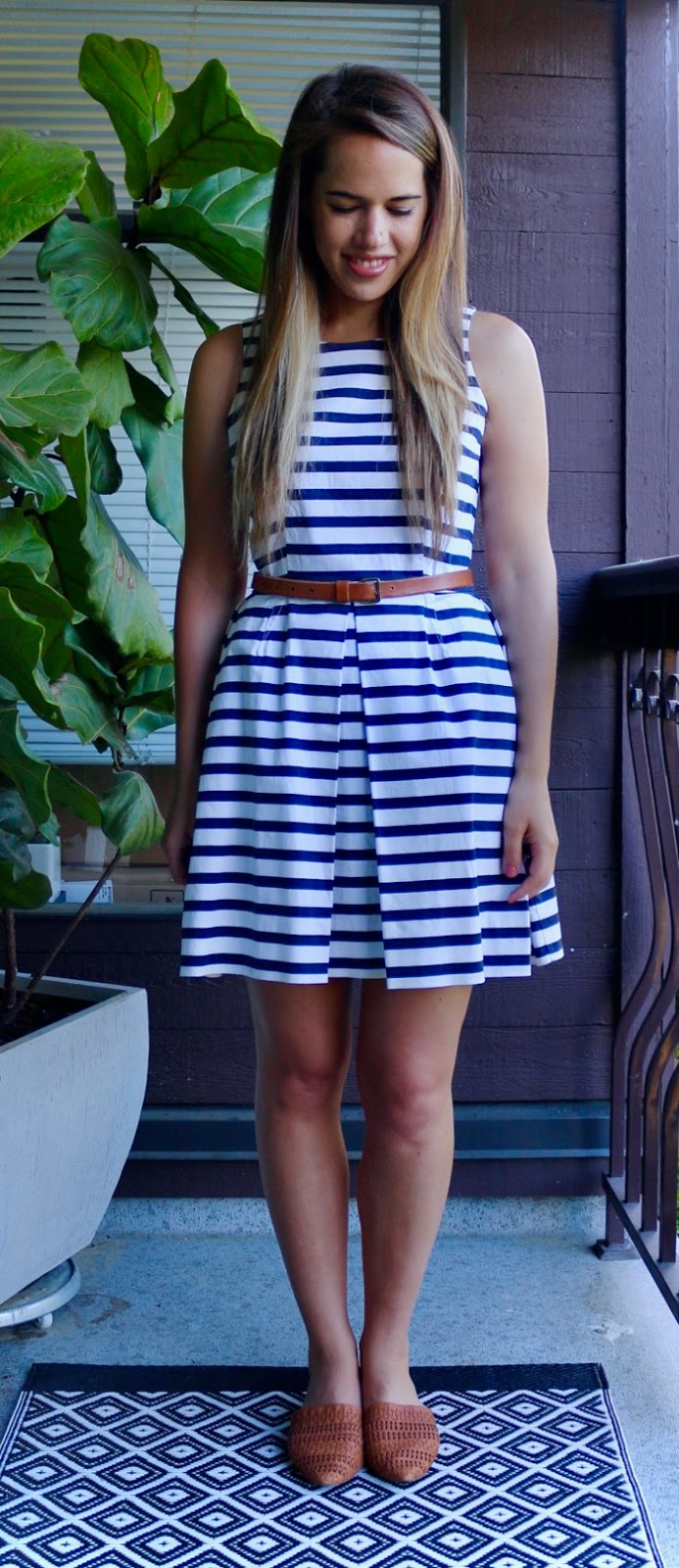 Jules in Flats - Striped Fit and Flare Dress
