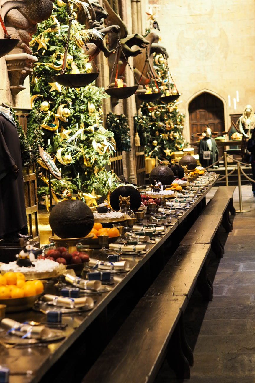 Christmas feast in Great Hall at Hogwarts in the Snow at Warner Brothers Studio Tour, London
