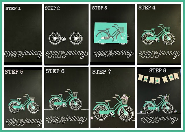 "Vintage Paint and more... step-by-step images of how to create the bike art using Chalk Couture's ""Enjoy the Jourey"" May Club Couture Transfer."