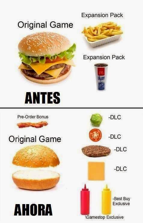 Comparacion: Juegos sin DLC vs Hamburguesas