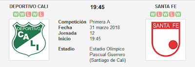 Deportivo Cali vs Santa Fe en VIVO
