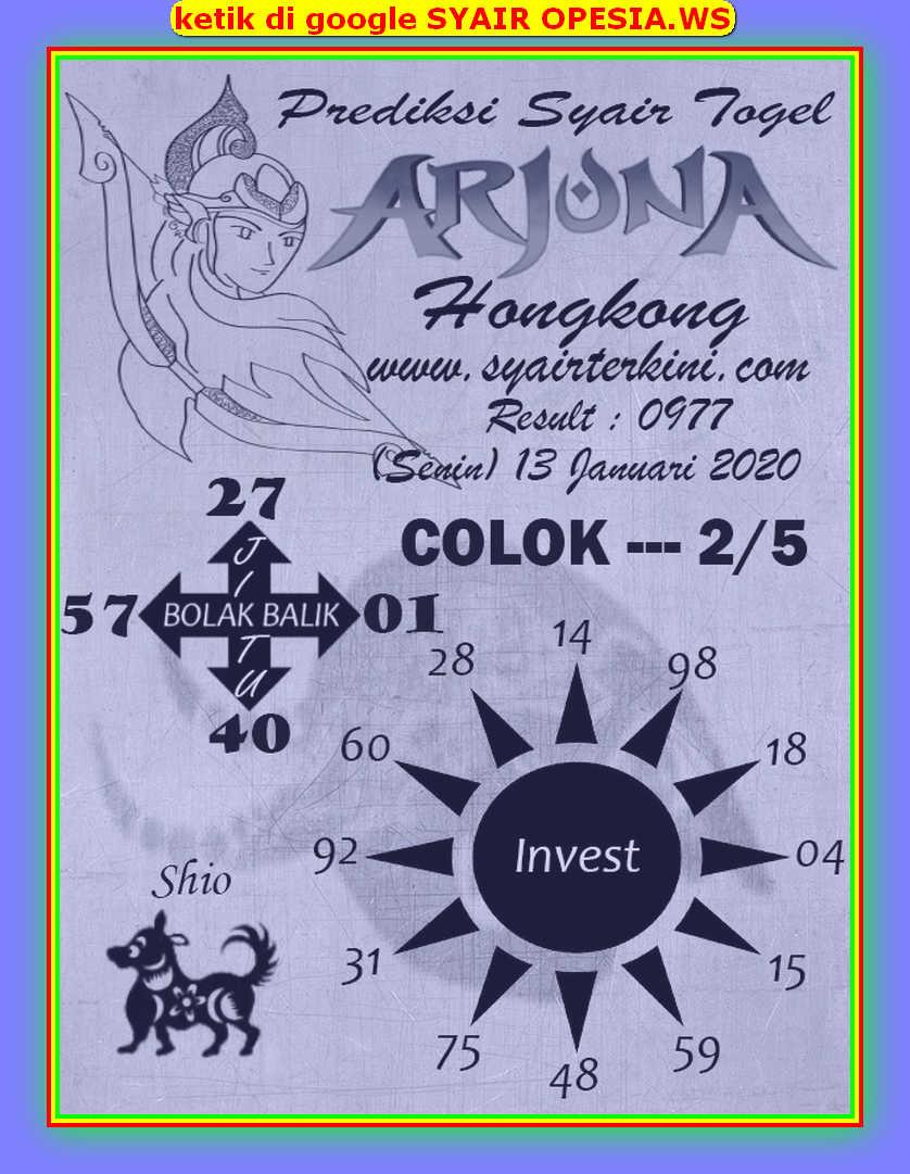 Kode syair Hongkong Senin 13 Januari 2020 136