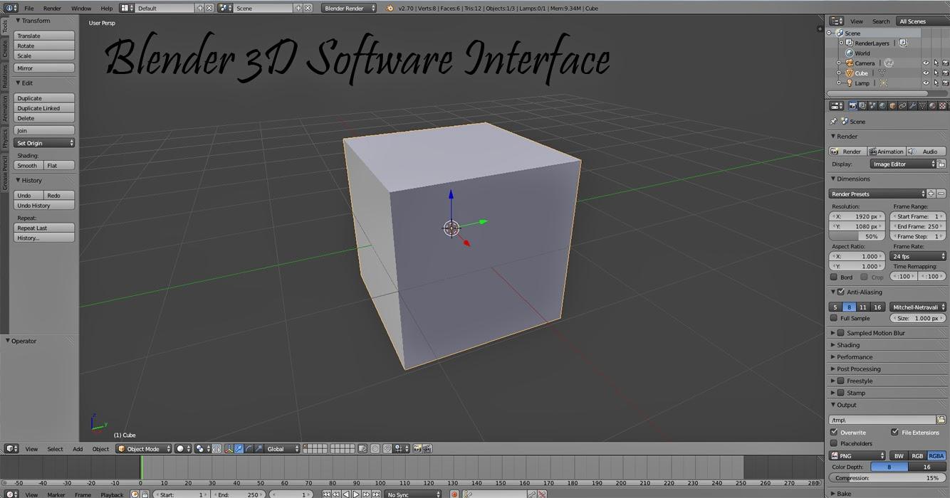 Blender 3D Software Interface