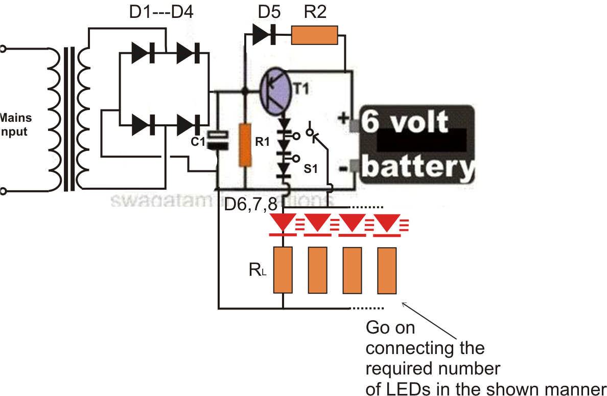 circuit diagram of 6v emergency light