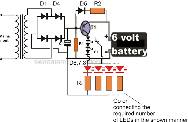 Simple LED Emergency Light Circuit ~ Electronic Circuit