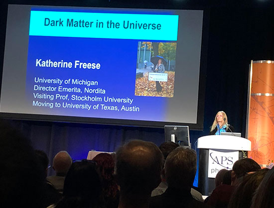 Katherine Freese, U of Mich., presents public lecture, Dark Matter in the Universe, at April APS Meeting in Denver