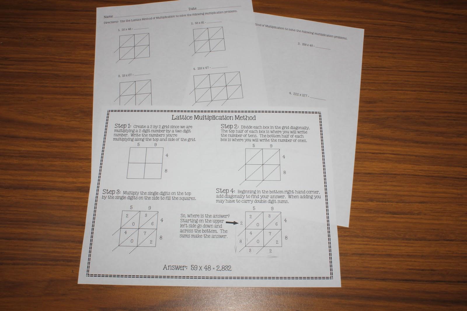 Lattice Method Worksheet