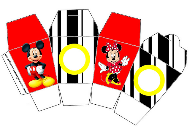 Minnie And Mickey In Red Free Printable Birthday Boxes