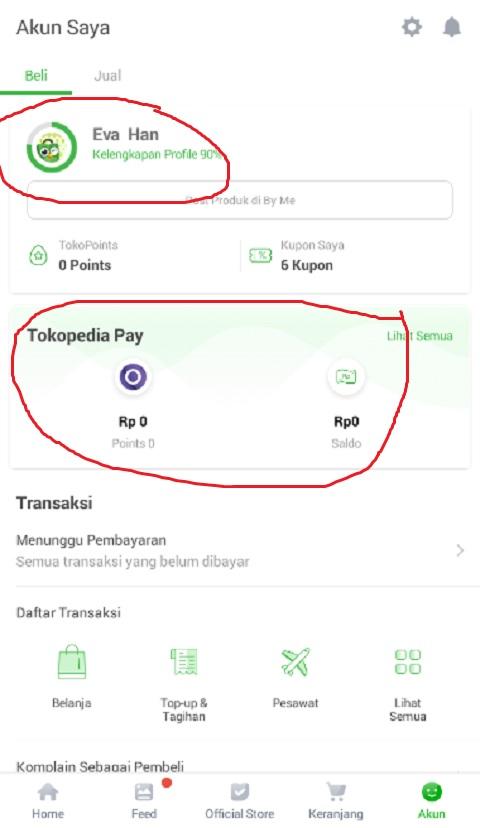 Akun Profil Tokopedia