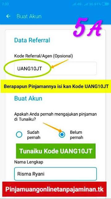 Cara mudah dapat Pinjaman tanpa jaminan Tunaiku kode Agen UANG10JT untuk Wilayah Surabaya, Sidoarjo dan Gresik