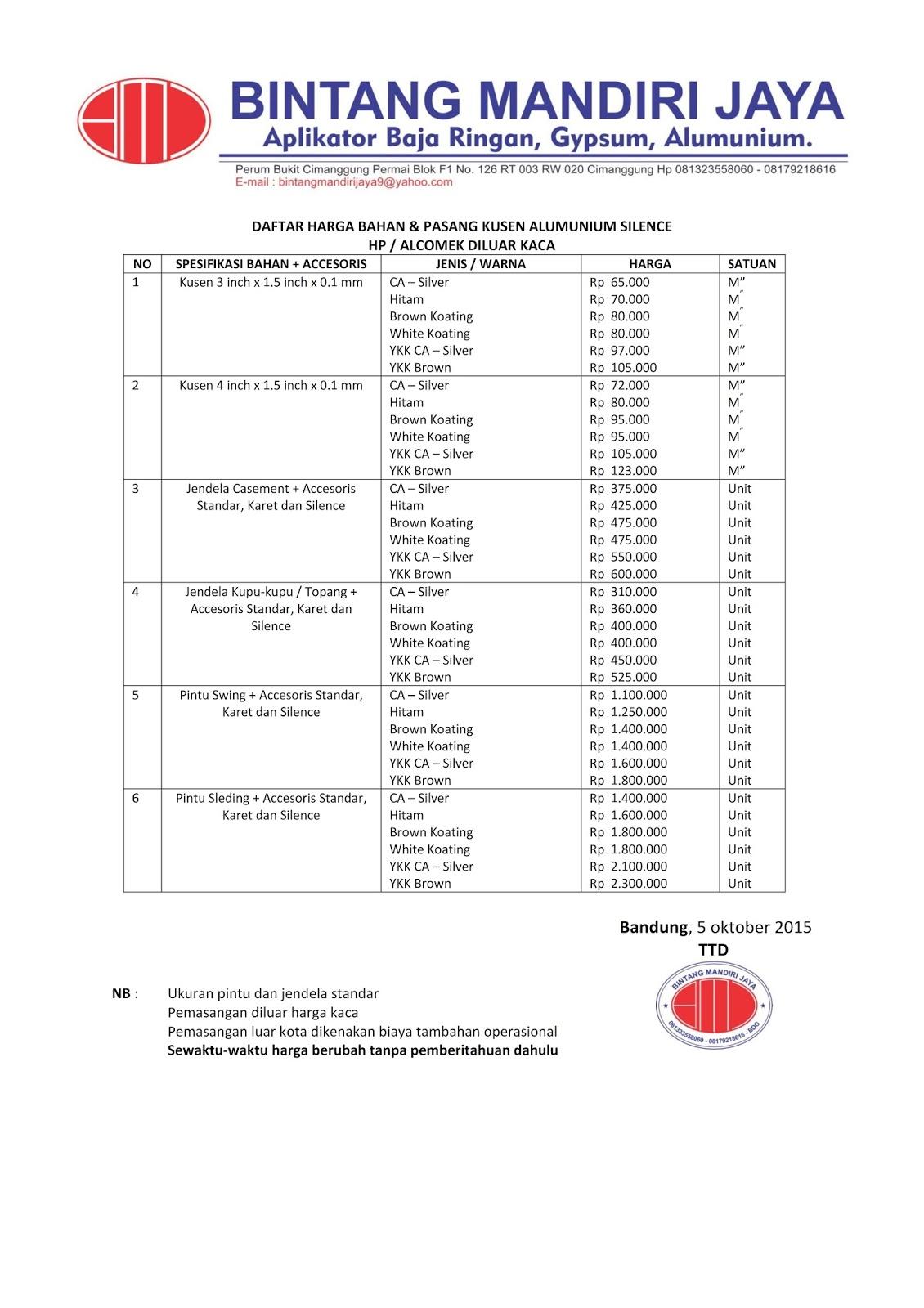 Harga Bahan Baja Ringan Bandung Cv Bintang Mandiri Jaya 2015