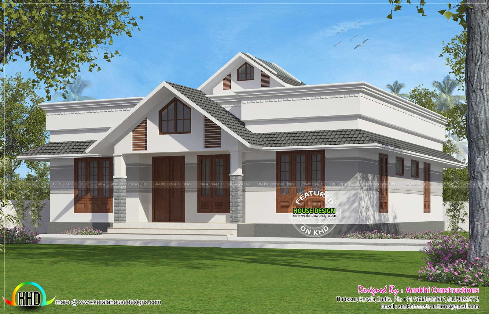 1330 square feet small house plan kerala home design and for Low cost per square foot house plans
