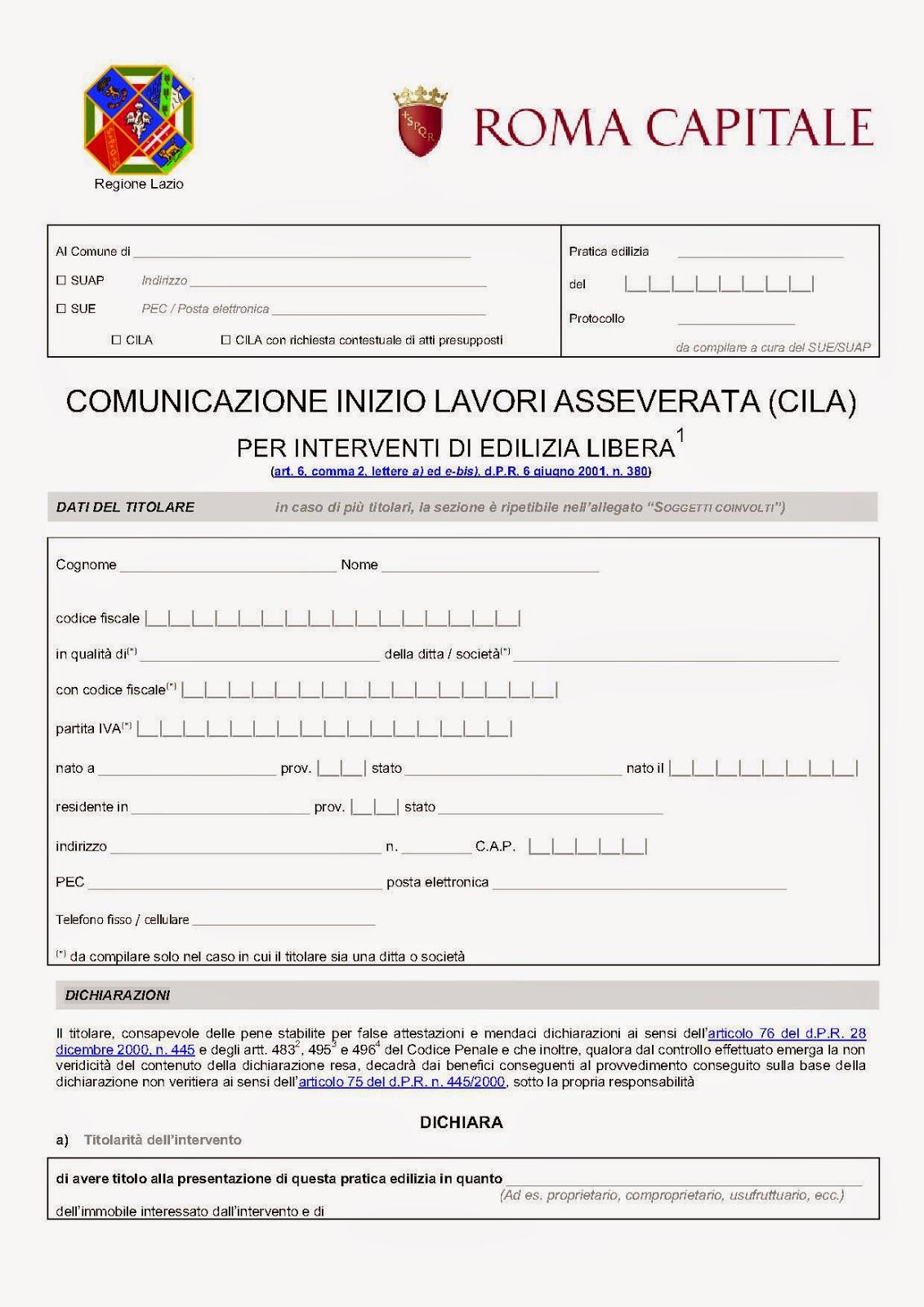 Costo Cila In Sanatoria Roma cila roma comunicazione inizio lavori asseverata