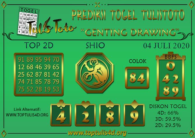 Prediksi Togel GENTING DRAWING TULISTOTO 04 JULI 2020