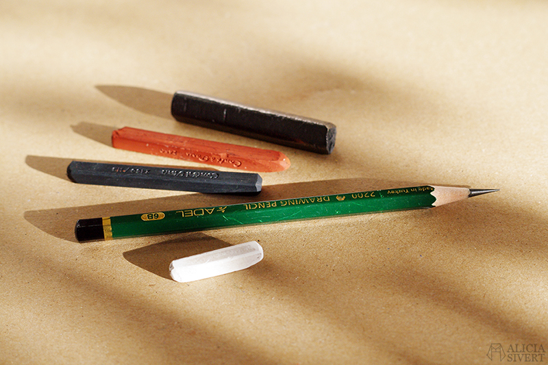 alicia sivert sivertsson aliciasivert skapa skapande teckning drawing material teckningsmaterial pennor kritor penna krita grafitstift grafit blyerts