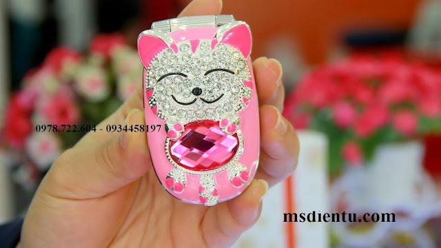 Điện thoại mèo con đính đá Luxury N111 màu đỏ