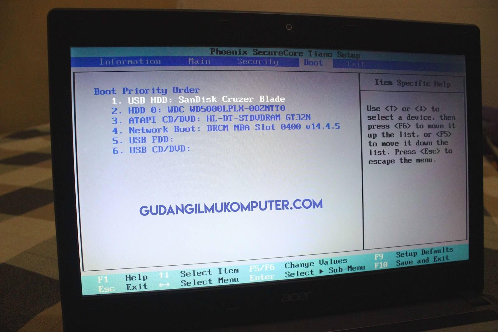 Mengatur Settingan Boot pada BIOS