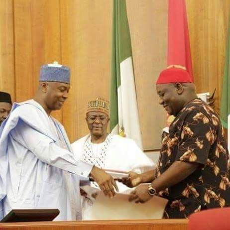 Saraki swears in senator who will replace Ekweremadu as d. Senate president (according to Okorocha)