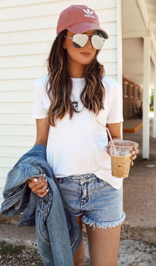 how to wear a pair of denim shorts : hat + white tee + denim jacket