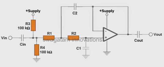 low pass filter circuit single supply