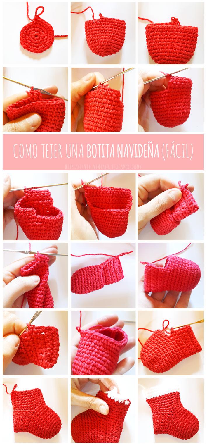 botita navideña crochet fototutorial