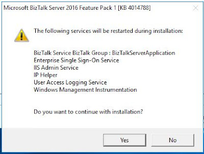 BizTalk feature Pack1 installer wizard page 4