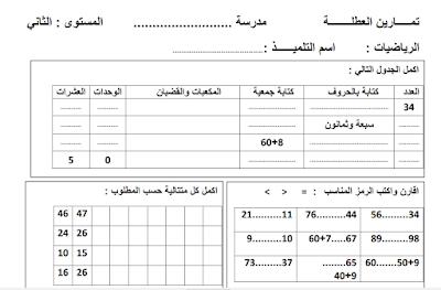 أنشطة داعمة في الرياضيات للمستوى الثاني ابتدائي